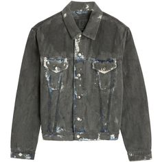McQ Alexander McQueen Loose Fit Denim Jacket (318 915 LBP) ❤ liked on Polyvore featuring outerwear, jackets, coats, grey, lined jacket, gray jean jacket, long sleeve denim jacket, lined denim jacket and oversized denim jacket