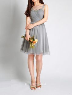 illusion neckline short knee length grey tulle bridesmaid dress