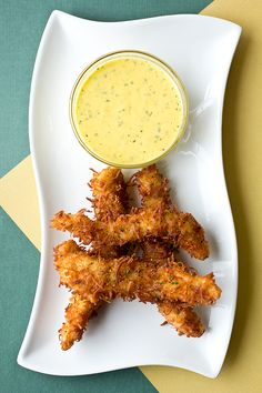 Coconut Crunch Chicken Strips with a Creamy Honey-Mango Dipping Sauce