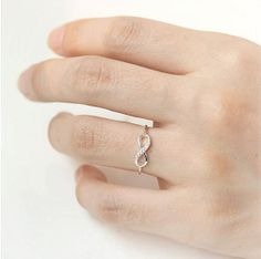 Infinity knuckle ring, gold infinity midi ring, silver ring, delicate ring, eternity ring, best friend ring, thin ring, dismond, glass stone on Wanelo