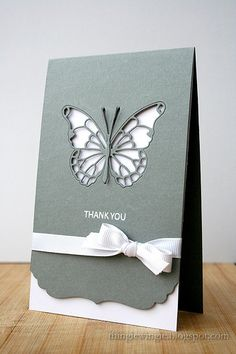 Birthday Card Design Ideas Paper Crafts Stamps 38 Ideas For 2019 Handmade Thank You Cards, Greeting Cards Handmade, Butterfly Cards Handmade, Simple Handmade Cards, Christmas Greeting Cards, Cricut Cards, Stampin Up Cards, Karten Diy, Sympathy Cards