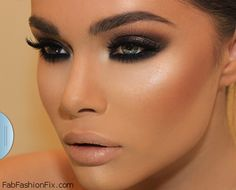 Smokey eyes, nude lips, perfectly contoured and highlighted face. #contour #highlight #makeup