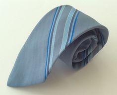 Starcy Neck Tie Blue Gray Striped 100% Polyester #Starcy #NeckTie