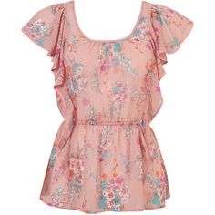 Dainty Floral Chiffon Top ❤ liked on Polyvore