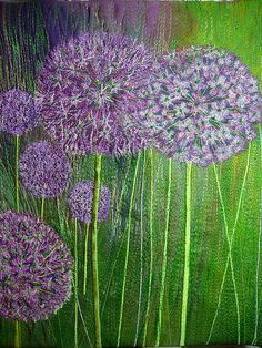 Nicky Perryman Textile Art - More comlementary colors: yellow-green and red-violet. Very striking! Thread Painting, Thread Art, Textile Fiber Art, Textile Artists, Free Motion Embroidery, Embroidery Art, Fabric Art, Fabric Crafts, Flower Quilts