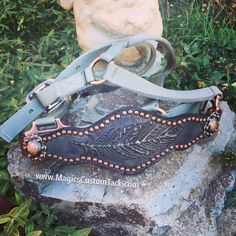 Gorgeous silver feather hide with copper spot border and copper conchos. On an average horse sized 3 ply nylon silver halter with copper hardware. Bronc Halter, Horse Halters, Western Tack, Horse Fashion, Painting Leather, Pretty Horses, Horse Tack, Barrel, Feather