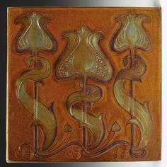 """Zsolnay tile, Arts and Crafts seed pod design in a metallic glaze against a mottled brown ground, 6""""sq"""