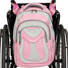 My Pink BFF Wheelchair Backpack $38.00  THE BEST SELLING WHEELCHAIR BAG FOR GIRLS. Features three spacious storage compartments: Handy front pocket, and a larger zippered pocket behind it. And you have a large zippered main compartment witch is wide open with a pocket sleeve on the inside-back.