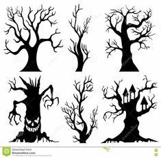 Halloween Stencils, Halloween Canvas, Halloween Drawings, Halloween Trees, Diy Halloween Decorations, Halloween House, Holidays Halloween, Spooky Halloween, Halloween Crafts