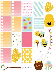 Free Honey Spring's Here Printable Planner Stickers | Cute Daisy