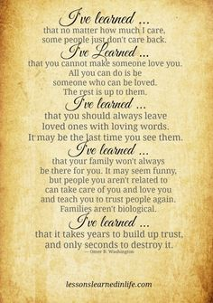 """Lessons Learned in Life 