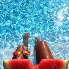 @kaptenandson | 'Pool essentials - Kapten shades and watermelon. ' @banso73 is enjoying summer. | #kaptenandson #bekapten #summer