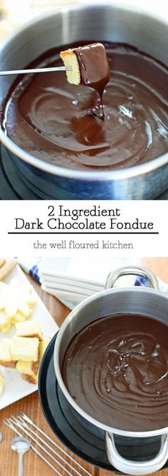 A rich and creamy dark chocolate fondue, only 2 ingredients! What are you going to dip?