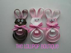 Bunny hair clips, in three colors