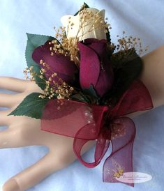 Wooden Rose White and Burgundy Corsage with Baby's Breath - Everlasting Wooden Rose, Everlasting Love! | RoseforLove.com