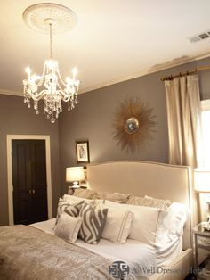 Master bedroom-love- I want a chandelier in my new room! Gray Interior, Home Interior, Interior Design, Interior Doors, Interior Ideas, Interior Modern, Minimalist Interior, Home Bedroom, Bedroom Decor