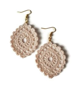 Beige Drop Earrings Lace Jewelry Gift For Her Handmade Crochet Oval Sicily - Beige lace drop earrings brand new. Handmade with passion and care for details. The earrings are han - Lace Earrings, Lace Jewelry, Jewelry Crafts, Drop Earrings, Jewelry Bracelets, Women Jewelry, Jewellery, Crochet Jewelry Patterns, Crochet Earrings Pattern