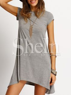 Grey+Asymmetric+Hem+Casual+Shift+Dress+9.99