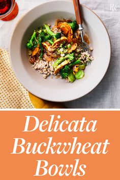 This hearty delicata buckwheat bowl is packed with seasonal veggies and nutrients, and comes together in just 30 minutes. Healthy Salad Recipes, Whole Food Recipes, Diet Recipes, Vegetarian Salad, Healthy Lunches For Work, Salad Ingredients, Vegan Foods, Food Menu, Gluten Free Recipes
