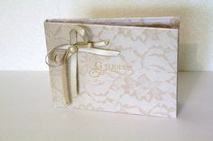 Wedding Guestbook Vintage Ivory Champagne Lace & Gold. Wedding Guest Book.