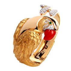 Diamond Red Coral Parrot Gold Cuff Bracelet