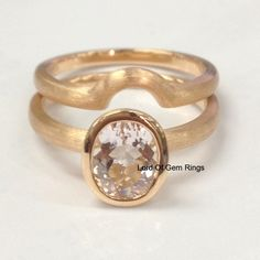 Two Ring Set! 6x8mm Oval Cut 1.0ct Pink Morganite Engagement Wedding Ring with Matching Band in 14K Rose Gold ,Bezel Set