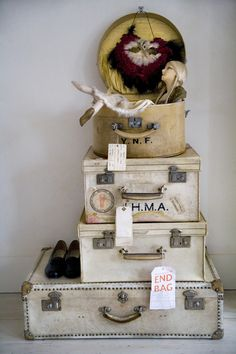 creams. love the vintage suitcases, just need to find some.  big sigh