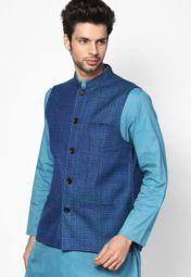 Even Striped Blue Nehru Jacket Men