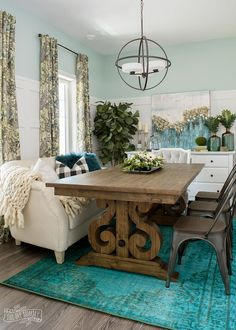 Farmhouse dining room eclectic farmhouse dining room design in teal black and white modern farmhouse dining . Dining Room Design, Dining Room Furniture, Room Chairs, Farmhouse Furniture, Furniture Decor, Farmhouse Dining Room Lighting, Country Dining Rooms, Industrial Dining, Outdoor Dining