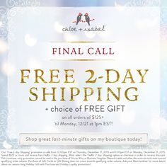 Last call for 12/24 delivery! Free 2-Day Shipping ends at 1pm EST on 12/21! www.chloeandisabel.com/boutique/donnybrook