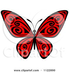 Clipart Of A Red Butterfly With Black Swirls - Royalty Free Vector Illustration by Seamartini Graphics