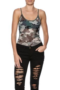 Semi sheer camo printed bodysuit with a scoop neckline low back and crisscross straps.  Camo Bodysuit by Polly & Esther. Clothing - Tops - Bodysuits New York City