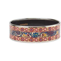 Pre-owned Hermes Beige & Floral Enamel Bangle Bracelet (46710 ALL) ❤ liked on Polyvore featuring jewelry, bracelets, hermes jewelry, preowned jewelry, enamel bangle bracelet, enamel bangle and hermès