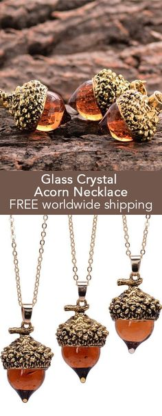Glass Crystal Acorn Necklace