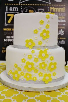 Yellow birthday party cake! See more party planning ideas at CatchMyParty.com!