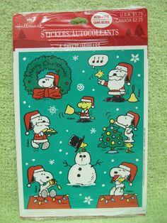 SNOOPY CHRISTMAS STICKERS Vintage Peanuts HALLMARK NEW WOODSTOCK 4 Sheet Holiday #Hallmark