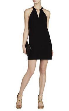 Kiley Tuxedo Stripe Halter Black BCBG MaxAzria Backless Cocktail Dress