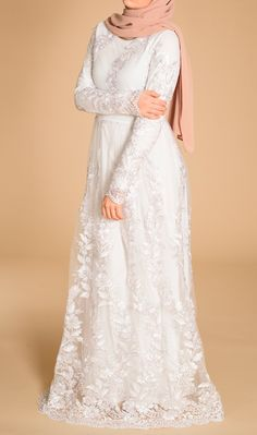 Largest Islamic Modest Fashion and style destination for trendsetters worldwide! Hijab Gown, Hijab Style Dress, Muslimah Wedding Dress, Muslim Wedding Dresses, White Lace Wedding Dress, Wedding Lace, Wedding Tips, Wedding Planning, Dress Brokat Muslim