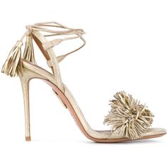 Aquazzura 'Wild Thing' metallic sandals (1.775.740 COP) ❤ liked on Polyvore featuring shoes, sandals, metallic, high heel sandals, gold shoes, fringe high heel sandals, high heel shoes and ankle wrap sandals