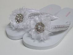 WHITE BRIDAL LACE FLOWERED FLIP FLOPS