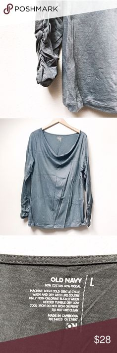 Charcoal Gray Long-Sleeve Tee Long-sleeve tee gets an upgrade! Gorgeous, lightweight charcoal gray tee with a swooped neckline and ruching at the wrists. New without tags.  ✅Bundle & Save 🚫Trades 🚫Off-Posh 🚫Modeling  💞Shop with ease; I'm a Posh Ambassador.💞 Old Navy Tops Tees - Long Sleeve