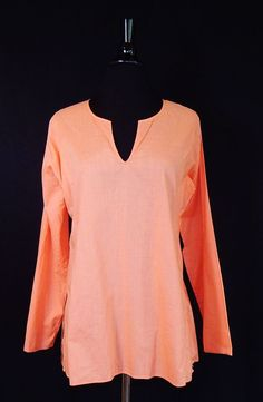 EILEEN FISHER 100% Cotton Peach Sherbert Summer Spring Tunic Blouse Top Size S #EileenFisher #Tunic #Casual