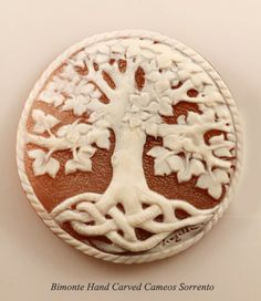 """Tree of Life"" Cameo ~ Shell: Cassis Madagascariensis ~ Cameo Size: 50 mm ~ Carver: Michele Langella"