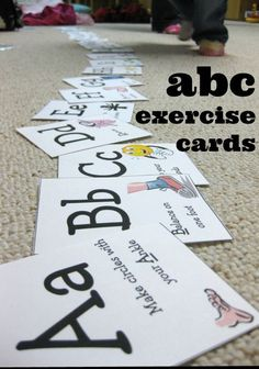 This is a SUPER fun, abc learning activity for toddlers and preschoolers! These ABC exercise cards are a fantastic way to keep kids busy, laughing and exercising their brains through reading as well as exercising their bodies! Check out how you can get your own set of cards. #abc #printables #freeprintable #toddler #preschool #activities #learning #teaching #exercise