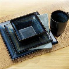 Oneida Adriatic Stoneware Dinnerware Square Set/16 Blue | Kitchen Stuff Plus