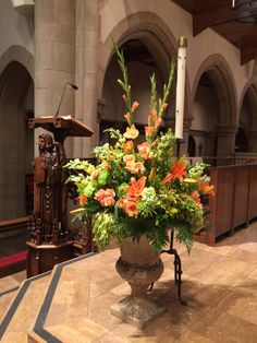 Orange lectern flowers