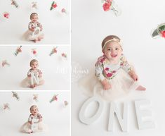 Simple white floral first birthday cake smash ONE, flowers, mason jars First Year Photos, First Birthday Photos, Birthday Cake Smash, First Birthday Cakes, Cake Smash Pictures, Mother Daughter Pictures, 1st Birthday Photoshoot, Children Images, Photographing Babies