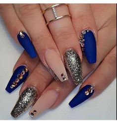 Royal blue coffin nails