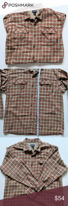 """Patagonia Organic Cotton Tan Red Flannel Shirt L Patagonia Organic Cotton Brown Red Multicolor Plaid Heavyweight Flannel Long Sleeved Button Up Shirt  Mens Large  Excellent Pre-owned condition.  Measurements (taken while flat): Chest (Pit to Pit): 24"""" Shoulder to Shoulder: 21"""" Length: 30"""" Patagonia Shirts Casual Button Down Shirts"""
