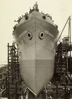The Agawam prepares to launch from the Submarine Boat Corporation dry dock in Newark, New Jersey,  September 1918. Photograph by M. Rosenfeld